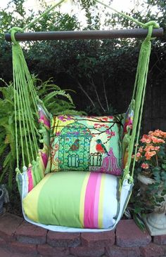 Fresh Lime Birdcage Garden Hammock Chair Swing Set - Click to enlarge