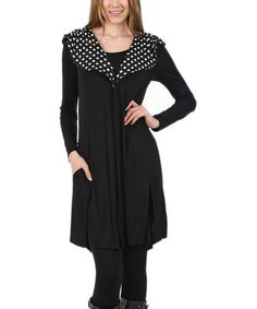 Another great find on #zulily! Black & White Dot-Collar Cardigan - Plus #zulilyfinds