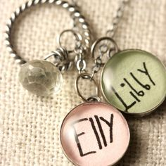 Personalized Charm Necklace - 2 Kid Names using Your Childs Actual Signatures via Etsy