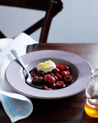 Cherries Poached in Red Wine with Mascarpone Cream   Food & Wine