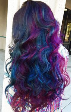 Oilslick dye can focus on just a few colors, like the gorgeous magenta and blue in these curls.