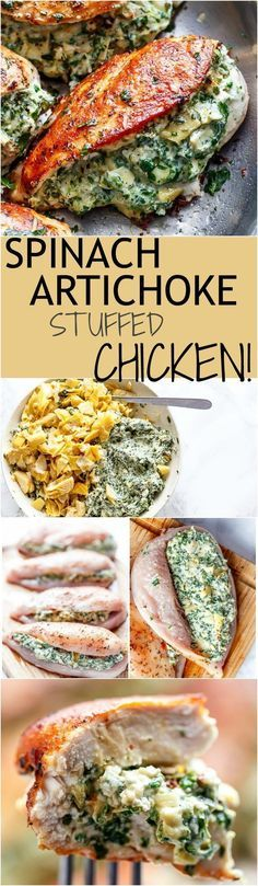 Spinach Artichoke Stuffed Chicken is a delicious way to turn a creamy dip into an incredible dinner! Serve it with a creamy sauce for added flavour! Healthy Dinner Ideas for Delicious Night & Get A Health Deep Sleep Great Recipes, Keto Recipes, Dinner Recipes, Cooking Recipes, Healthy Recipes, Dinner Ideas, Spinach Recipes, Dinner Menu, Vegetable Recipes