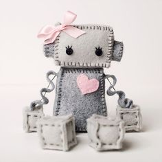 Sweet Plush Robot Girl in Gray with Pink Heart and by GinnyPenny, $27.00