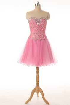 A Line Sweetheart Short Pink Tulle Lace Beaded Cocktail Prom Dress Pink Tulle, Tulle Lace, Beaded Lace, Prom Dresses 2018, Prom Dresses For Sale, Formal Dresses, Maze, Fashion, Dresses For Formal