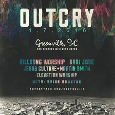 Following a successful concert tour debut earlier this year, OUTCRY Tour announces the dates and line-up for OUTCRY Tour 2016. Artist Line-up Includes Hillsong Worship, Kari Jobe, Jesus Culture with Martin Smith, Elevation Worship, Brian Houston