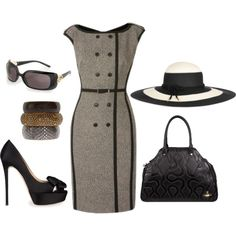 Strictly Business by fiftynotfrumpy on Polyvore featuring Valentino, Vivienne Westwood, River Island, Eugenia Kim, Gucci, Karen Millen, handbags, bangles, black and sunglasses