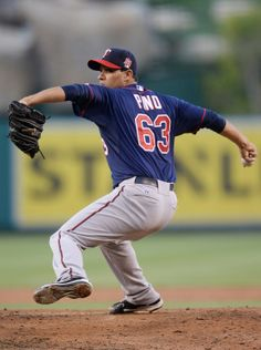 Jun 25, 2014; Anaheim, CA, USA; Minnesota Twins starting pitcher Yohan Pino (63) in the second inning of the game against the Los Angeles Angels at Angel Stadium of Anaheim. Mandatory Credit: Jayne Kamin-Oncea-USA TODAY Sports