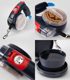 Smart Dog Leash - is this too much for our quick trips around the block? We don't NEED the light, the clock, or the bowl for those. But what a great idea!