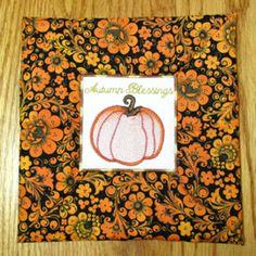 AUTUMN COFFEE COZY MUG RUGS 4X4 Mini Set-mug rug coffee cozy in the hoop embroidery design,in the hoop gifts embroidery designs,fall autumn ...