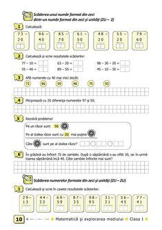 Clasa I : Matematică şi explorarea mediului. Clasa I. Partea II - (E1) Math 4 Kids, Kids Math Worksheets, Fun Math, Maths, Grade 1, Homeschooling, Curriculum, Student, Learning
