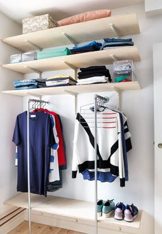 If you do not have space enough for a rack along the wall, try turning them out in the room and have more than one.