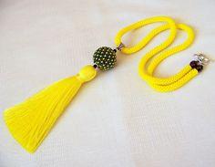 Amarilla borla collar  collar largo collar  collar de cuerda