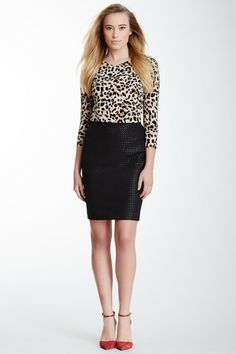 Leopard and textured skirt look