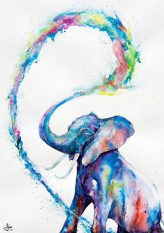 Marc Allante Elephant Art Poster New - Maxi Size 36 x 24 Inch Watercolor Animals, Watercolor Paintings, Elephant Watercolor, Easy Watercolor, Tattoo Watercolor, Abstract Paintings, Art Paintings, Original Paintings, Watercolor Canvas