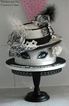 Hats and Lashes Cake by Mother and Me Creative Cakes (Creative Baking Awesome) Pretty Cakes, Beautiful Cakes, Amazing Cakes, Unique Cakes, Creative Cakes, Fondant Cakes, Cupcake Cakes, Hat Cake, Gateaux Cake