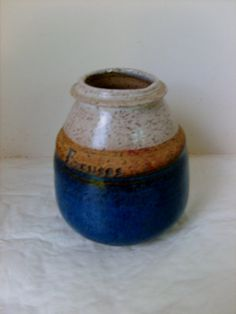 Small Hand-thrown Pot Layers of blue/tan/beige signed Excuses Perfect Form