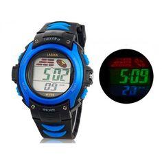 Relógio Digital resistente à água, com alça de plástico (azul)
