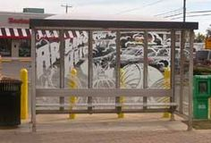 Glebe Road Bus Shelter, by: Preston Sampson | Etched glass | Arlington, Virginia