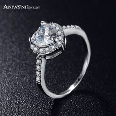 ANFASNI Love Style Sincere Heart Ring Gold /Silver Color Plated Micro Pave Clear AAA  Cubic Zirconia Promise Ring CRI0004