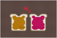 Peanut butter and jelly BFF cross stitch pattern. Free ($0).