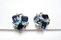 Signed Lisner Vintage AB Blue Rhinestone by TastefullyCreative