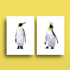 Sale Art 2 Prints Penguin Art Discounted Set by SunberryGraphics