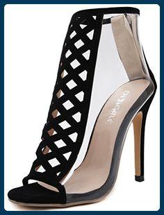 5c94a2983abd Aisun Damen Neu Transparent Cut-Out Peep Toe High Top Stiletto  Reißverschluss Sandalen Schwarz 35 EU - Sandalen für frauen ( Partner-Link)