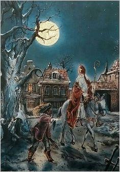 Sinterklaas en Zwarte Piet in de nacht.