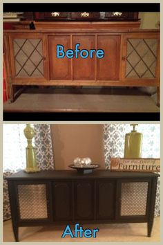 Refurbished old stereo console. Spray adhesive to attach fabric to ...