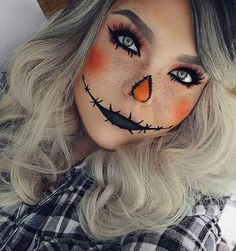 Cute Scarecrow Halloween Makeup Idea