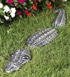 Ponds waterfalls on pinterest koi ponds ponds and for Alligator yard decoration