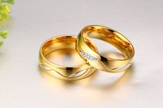 Couple Gold Plated Rings For Women And Men