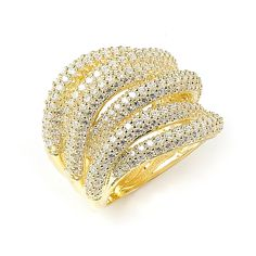 Sterling Silver Gold Plated and 6 swirls of Cubic Zirconia Ring: Rings