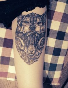 Wolf tattoo - love it; sounds wierd ? But i would love this on my leg.