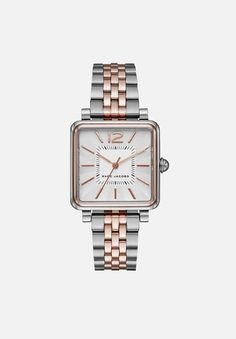 Whether you're on time or fashionably late, this classically timeless watch with a square polished stainless steel case with a silver satin dial and gold bracelet will have you looking stylishly on trend, no matter what. Marc Jacobs Watch, Silver Roses, Square Watch, Stainless Steel Case, Minimalist Design, Michael Kors Watch, Gold Watch, Rolex Watches, Latest Fashion