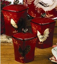 Le Rooster Kitchen Canister Set | Kitchen Canister Sets, Canister Sets And Kitchen  Canisters