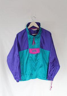 90s COLUMBIA SPORTWEAR Windbreaker // Teal Pink Purple // Chillwave Vaporwave Aesthetic Gear // Mac Demarco by VegaGenesisVintage on Etsy