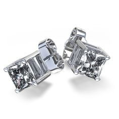 This modern pair of diamond earring studs features two gorgeous princess cut 1/10 carat diamonds totaling 1/4 carat, each resting in a…