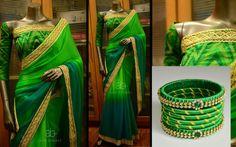 Colourful Bangles For Your Colourful Sarees! Silk Thread Bangles, Thread Jewellery, Indian Gowns, Indian Sarees, Traditional Silk Saree, Embroidery On Kurtis, Saree Trends, Green Saree, Beautiful Saree