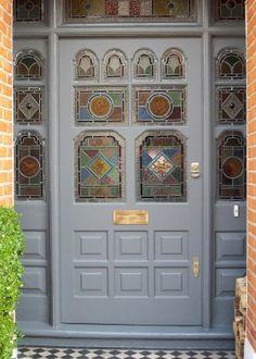 Victorian door with leaded glass.