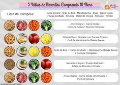 5 Opções de Marmitas Saudáveis Com Apenas 10 Itens. Healthy Life, Healthy Living, Planet Fitness Workout, Food And Drink, Healthy Recipes, Healthy Food, Low Carb, Meals, Cooking