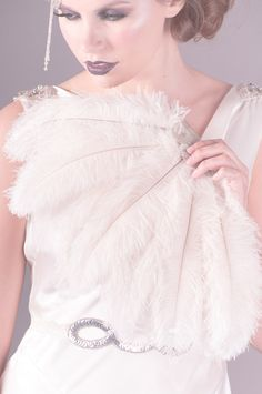Mattie Ostrich Feather Fan in Ivory, 1920s, deco, ostrich, feather, ivory, beaded, wedding, bridal, fan