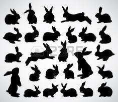 collection de silhouettes de lapin Banque d'images