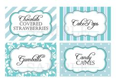 Printable Candy Buffet Labels for Wedding or Shower - Shades of Blue