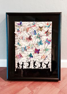 2015. Music paper collage with children and butterflies.