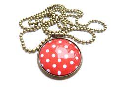 Lange ketting - silver color necklace with polka dot cabo (S-122e) - Een uniek product van DomesDesign op DaWanda