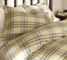 love the plaid! Stratton Plaid Organic Flannel Duvet Cover & Sham #potterybarn (clearance sale!!)