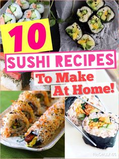 Sushi Recipes To Make At Home! I searched the Internet for 10 awesome sushi recipes that you can easily make at home! Check them out! :)I searched the Internet for 10 awesome sushi recipes that you can easily make at home! Check them out! I Love Food, Good Food, Yummy Food, Tasty, Sushi Love, Sushi Sushi, Diy Sushi, Sushi Party, Tempura Sushi
