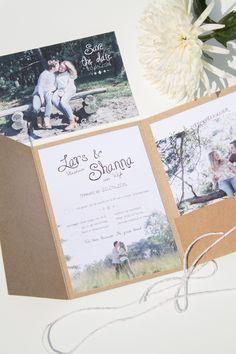 Save the Date en Trouwkaart Lars en Shanna - foto: LoveLi, ontwerp: Leesign #leesign #trouwkaart #savethedate #wedding #save #the #date #trouwen #kraft #kaart