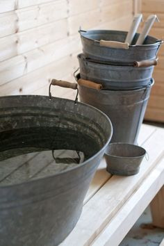 Wash tubs & dippers - for Sauna.